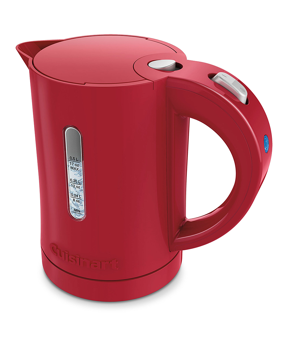 Cuisinart  Electric Kettles  - Red & Silvertone 0.5L Electric Tea Kettle Red & Silvertone 0.5L Electric Tea Kettle. Boost your tea drinking with this innovative tea kettle, featuring side tic-marks for easy measuring. 6.90'' W x 7.56'' H x 4.60'' D5L max fillPlastic / electronicsImported