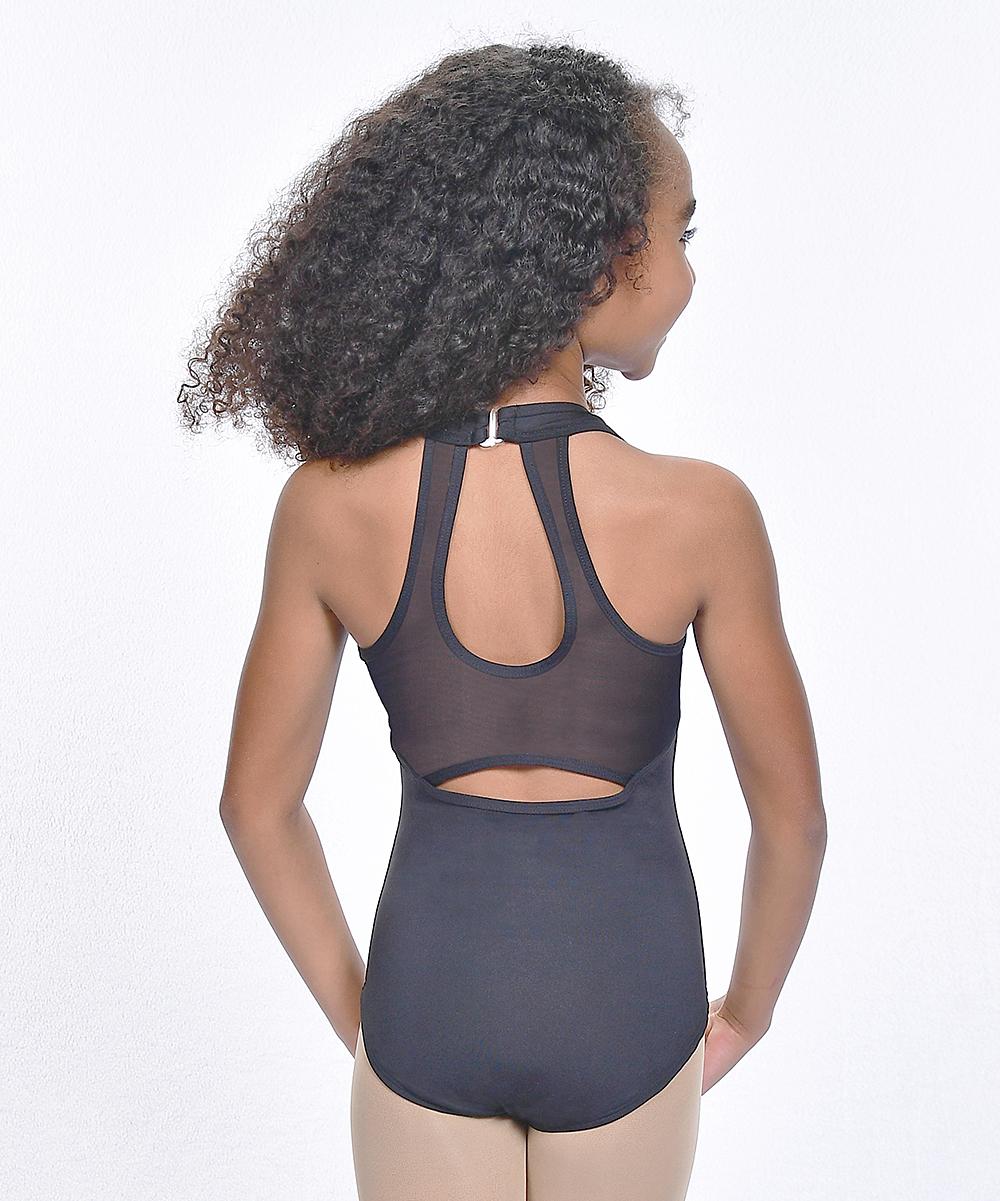 Basic Moves Women's Gymnastic Leotards CHARCOAL - Black Halter Open-Back Leotard - Girls
