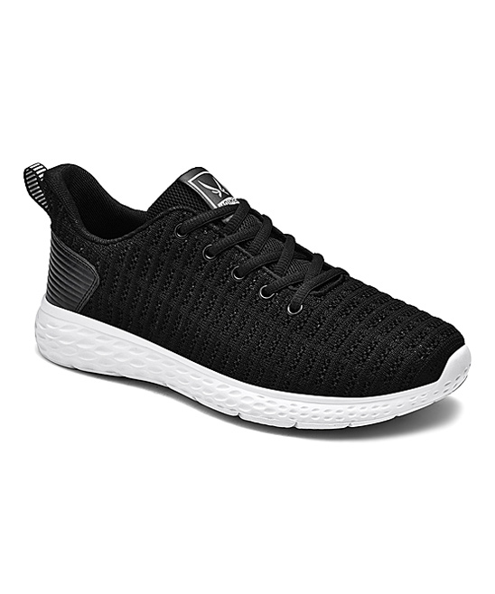 Fashion Sport Women's Sneakers Black - Black & White Mesh Pull-Tab Sneaker