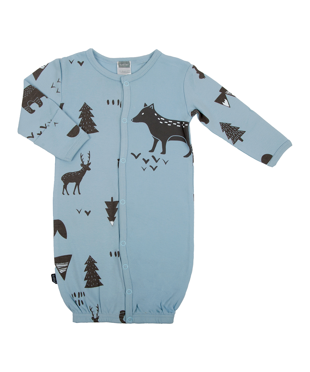 Light Blue Woodland Animal Convertible Organic Cotton Gown - Newborn & Infant