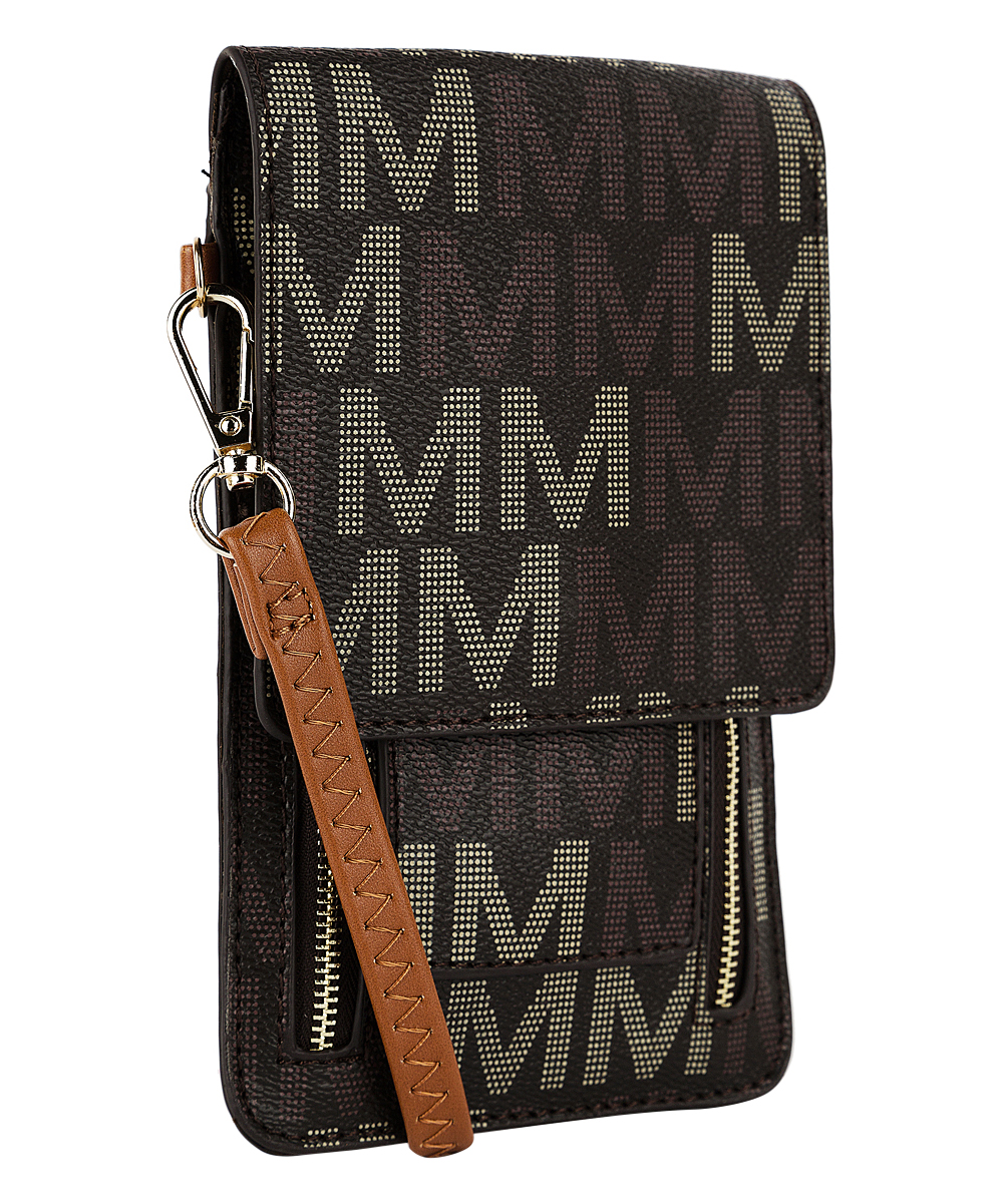 MKF Collection by Mia K. Farrow Women's Handbags  - Brown Signature 'M' Phone Crossbody Bag