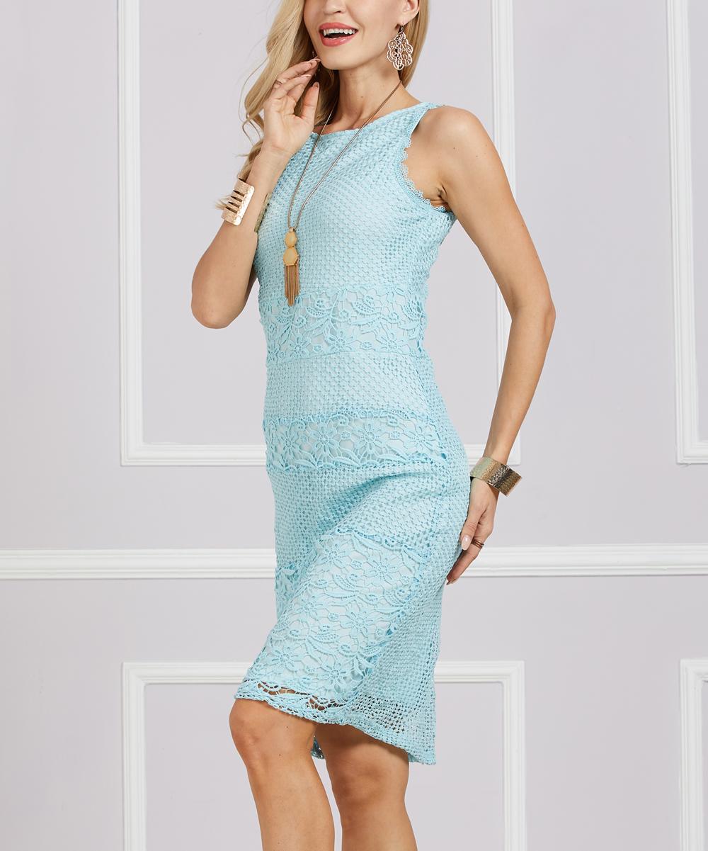 3831efb2 Suzanne Betro Dresses Aqua Lace-Overlay Sheath Dress - Plus
