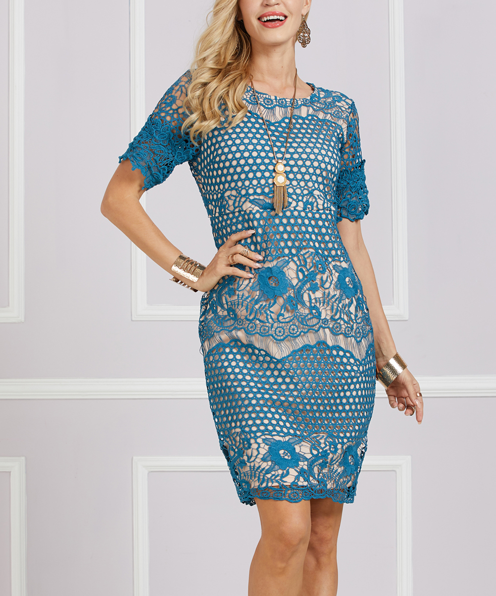 e39db92f Suzanne Betro Dresses Cadet Blue Lace-Overlay Sheath Dress - Women & Plus