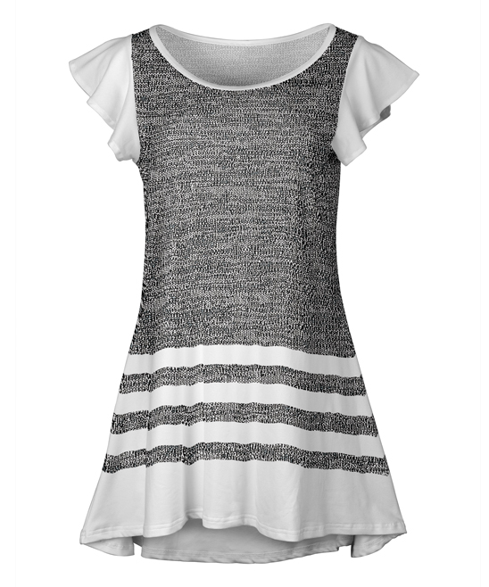 Gray & White Stripe-Hem Flutter-Sleeve Tunic - Plus
