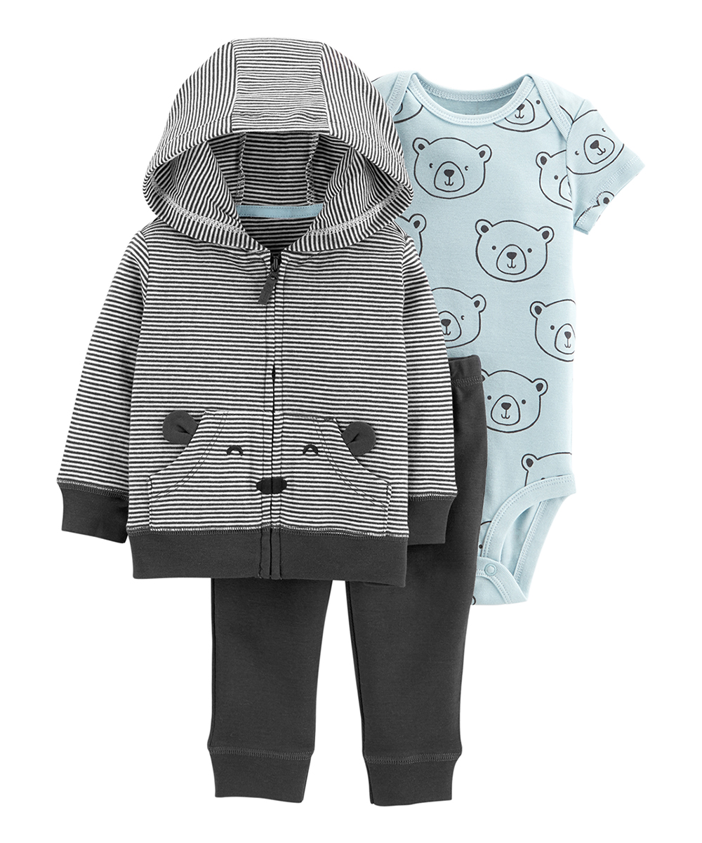 30d93f65 Carter's Black & Blue Stripe Bear Hoodie Set - Newborn & Infant