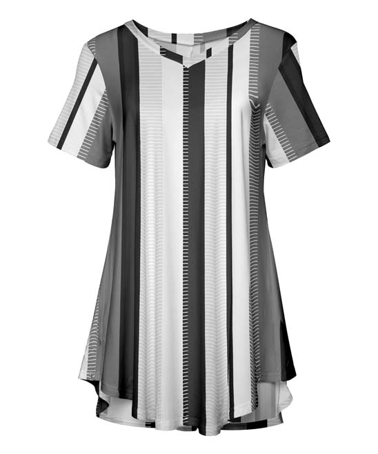 Gray & White Curved-Hem V-Neck Tunic - Plus