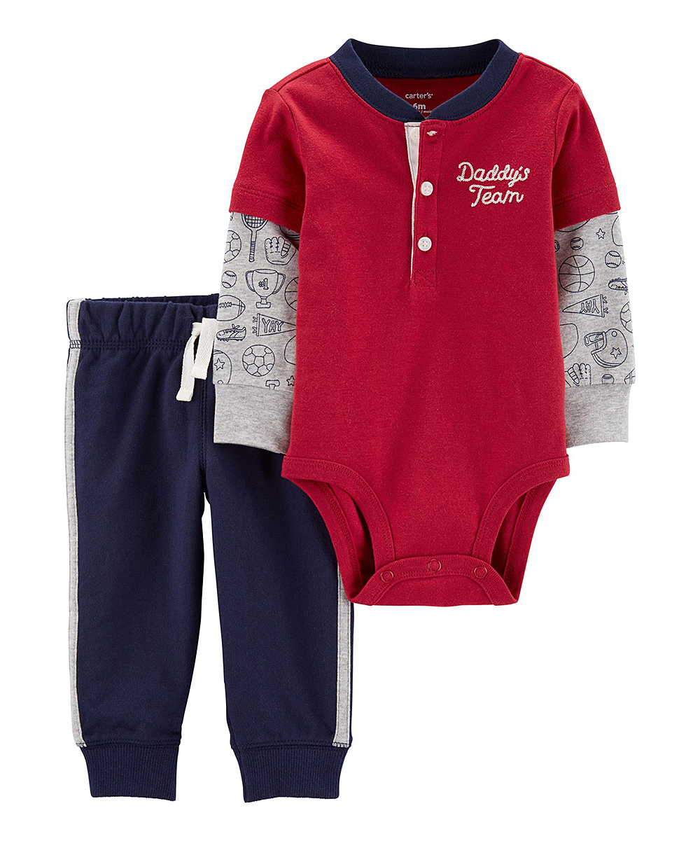 Carter S Red Navy Daddy S Team Layered Bodysuit Joggers Infant