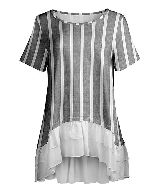 Gray & White Stripe Ruffle-Hem Tunic - Women & Plus