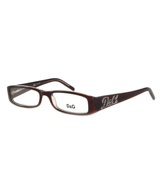 ebecbe1e38 Dolce   Gabbana Brown Side-Dazzle Square Eyeglasses