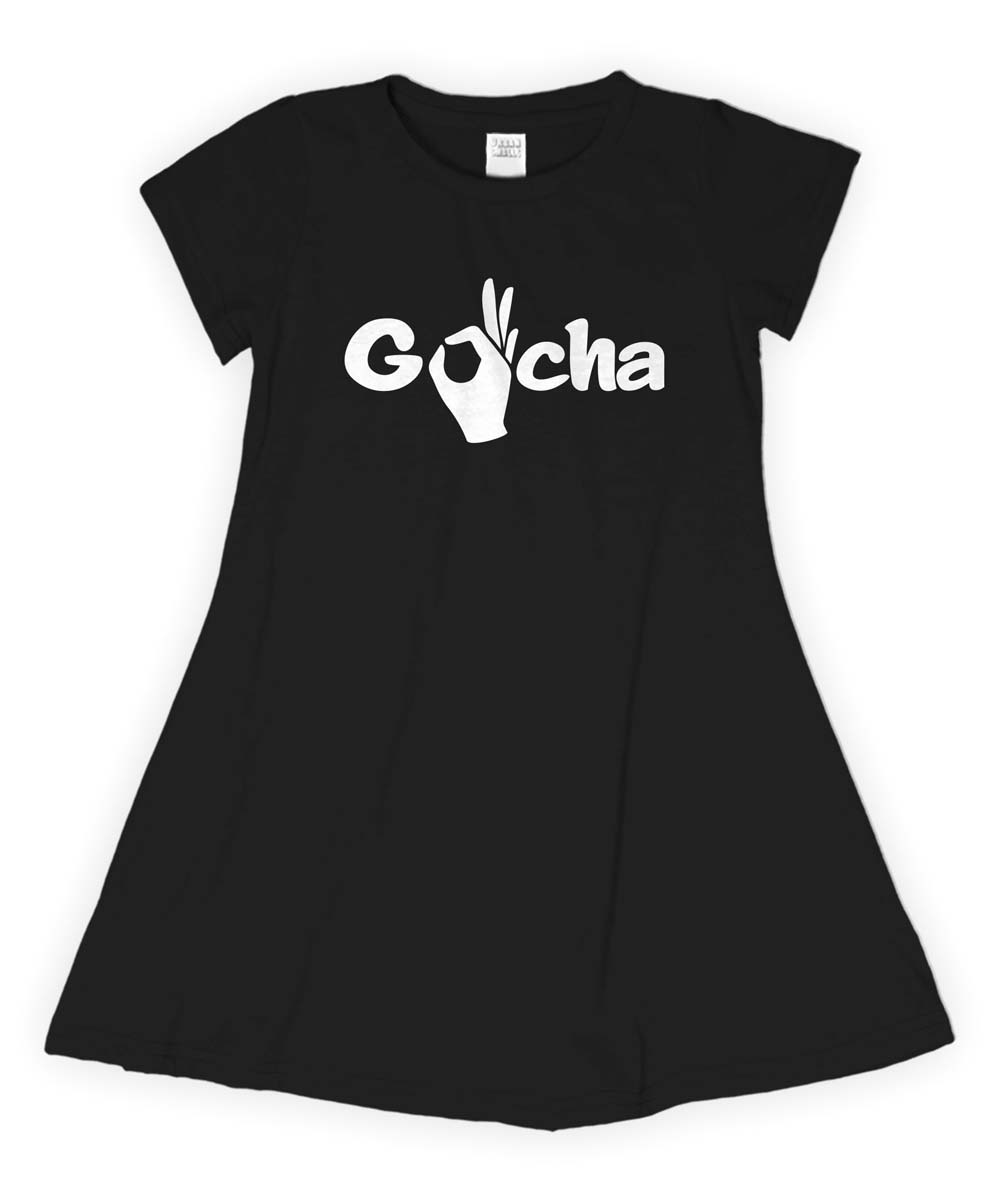 Black 'Gotcha' T-Shirt Dress