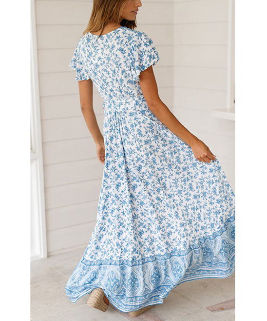 1877c20dcb ... Womens Light Blue & White Floral Side-Slit V-Neck Maxi Dress - Alternate