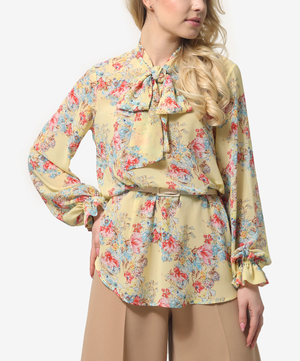 b64ef65baf9e all gone. Yellow & Pink Floral Tie-Neck Long-Sleeve Top - Women ...