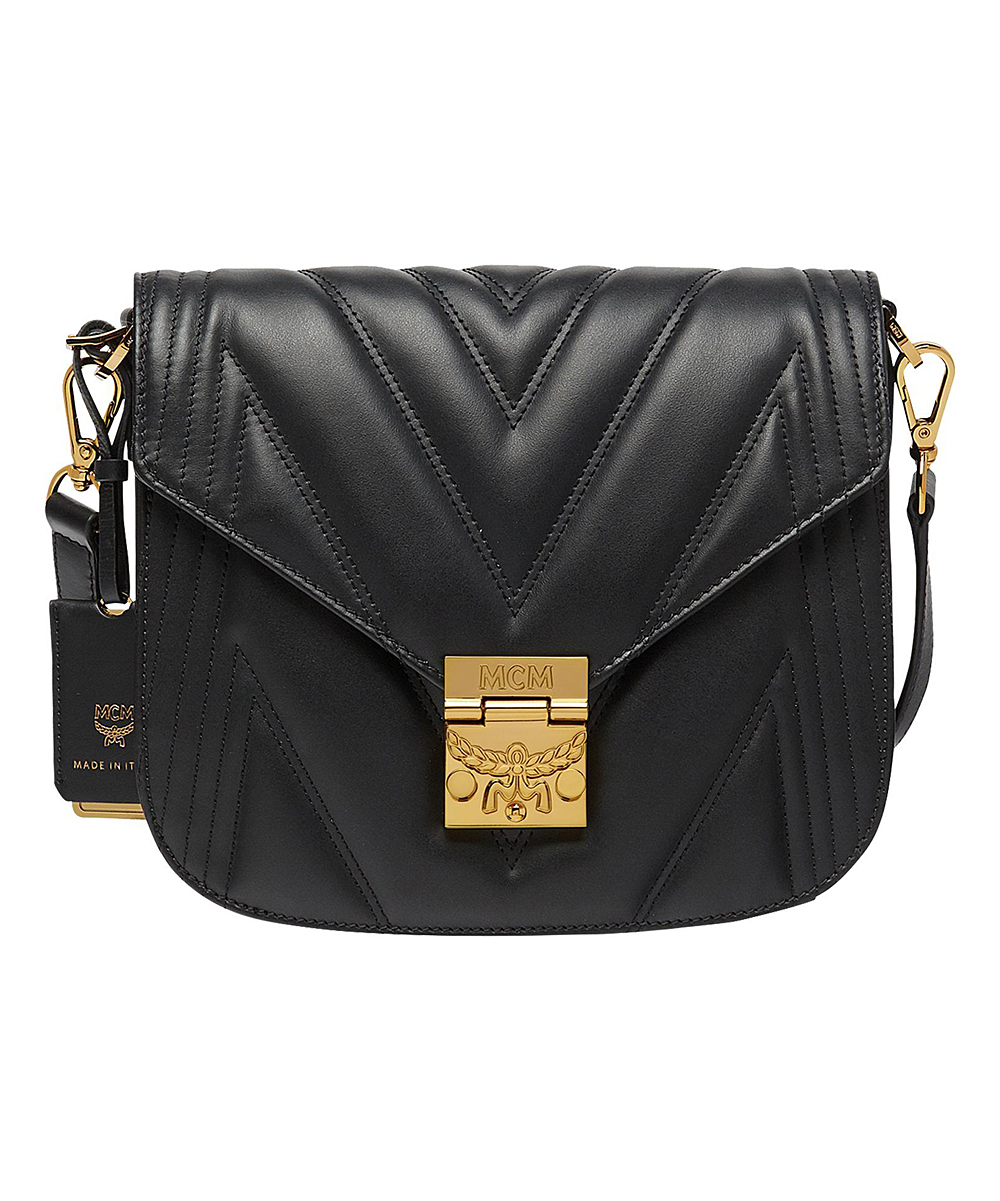 fa7d2e5be888 MCM Black Quilted Leather Crossbody Bag | Zulily