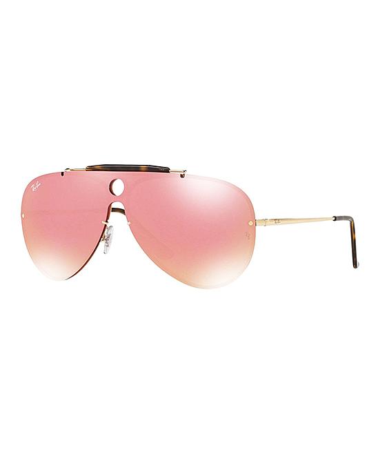 ec410c924a815 Ray-Ban Gold   Pink Mirror Shield Sunglasses