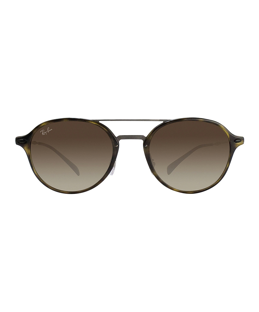 750de3a43ca8b Ray-Ban Tortoise Gunmetal Double-Bridge Round Sunglasses - Women ...