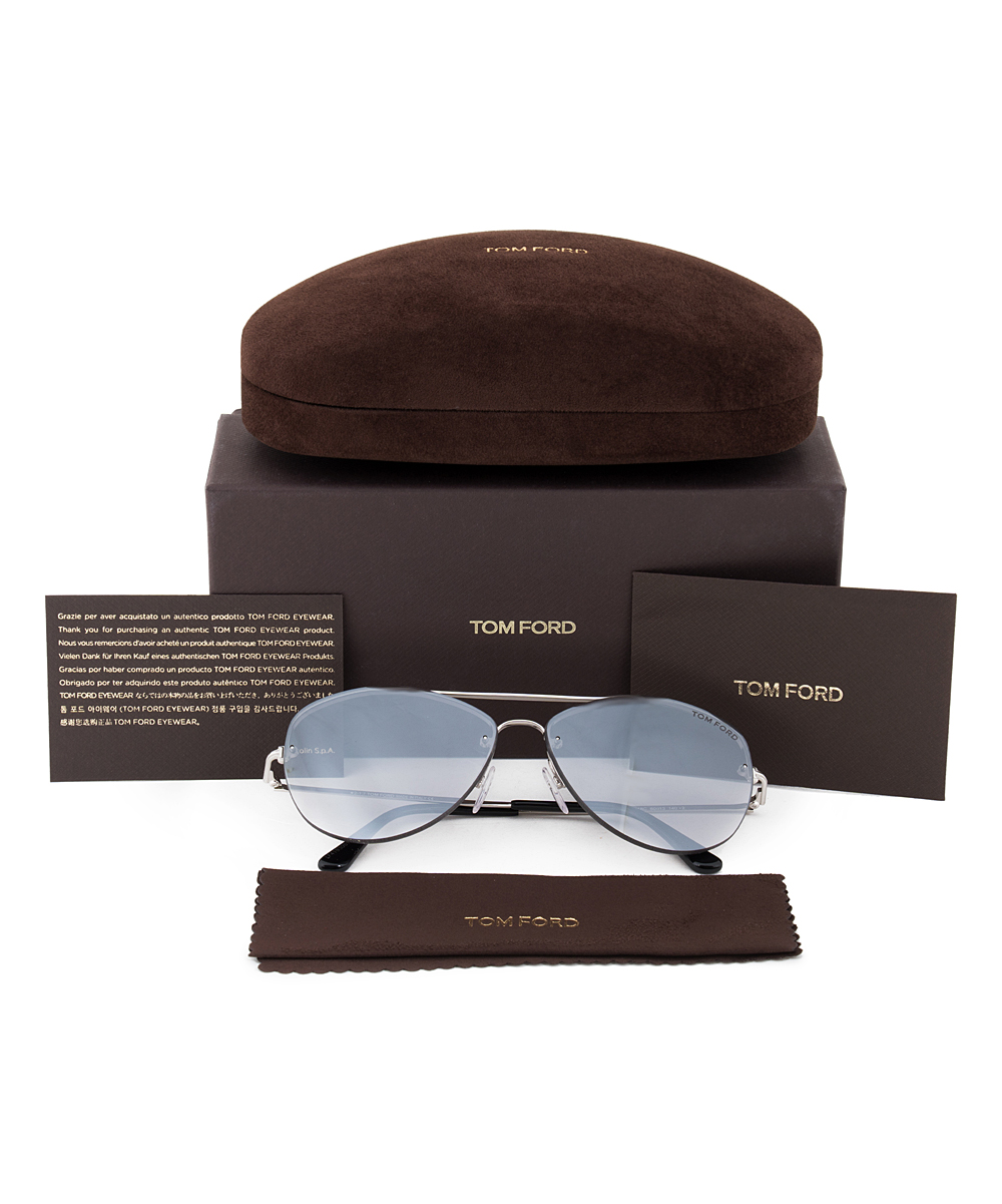 ca86504395146 Tom Ford Silver Rhodium   Pale Blue Aviator Sunglasses