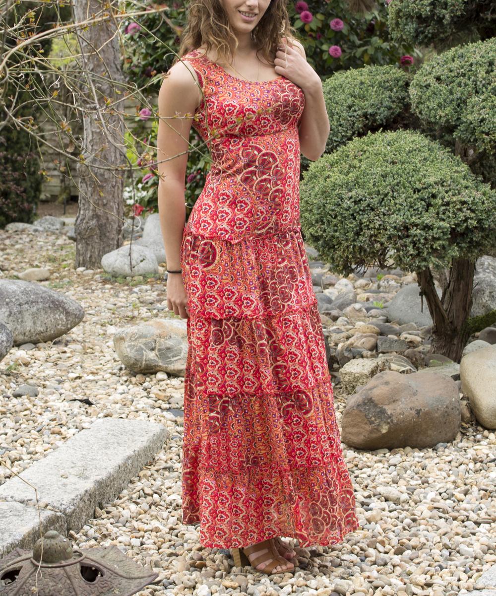 Red Geometric Maxi Dress - Women & Plus Red Geometric Maxi Dress - Women & Plus.    100% cottonHand wash; hang dryImported