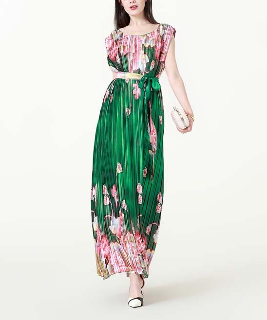 1a4ae16b28a28 ... Womens Green & Floral print Green & Pink Floral Accordion-Pleat Maxi  Dress - Alternate ...