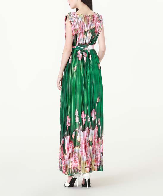 63425104eadcf ... Womens Green & Floral print Green & Pink Floral Accordion-Pleat Maxi  Dress - Alternate