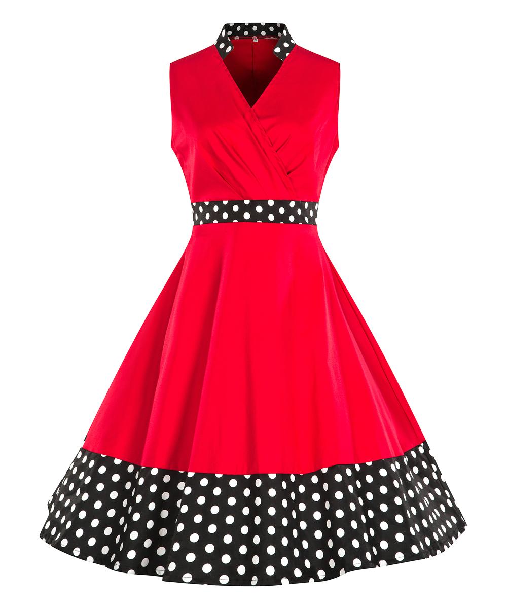 d55941c3958 Vintage 50s Red Polka Dot Full Skirt Dress - Data Dynamic AG