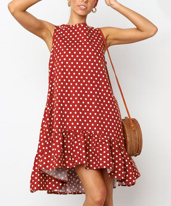 c349a3604391 LAKLOOK Crimson Polka Dot Ruffle-Hem Shift Dress - Women | Zulily