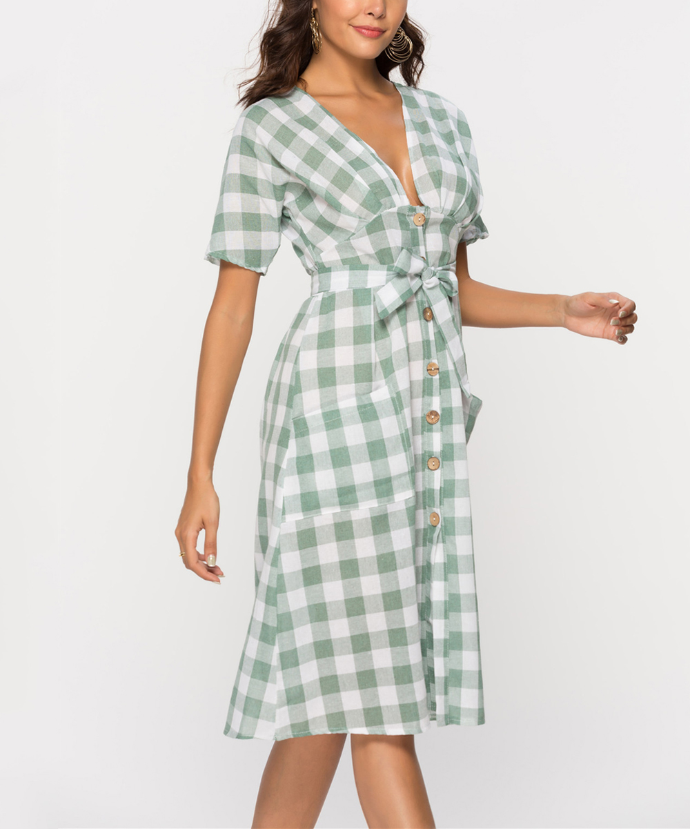 17b6d41350191 ... Womens Green   White Gingham Tie-Waist Midi Dress - Alternate Image ...
