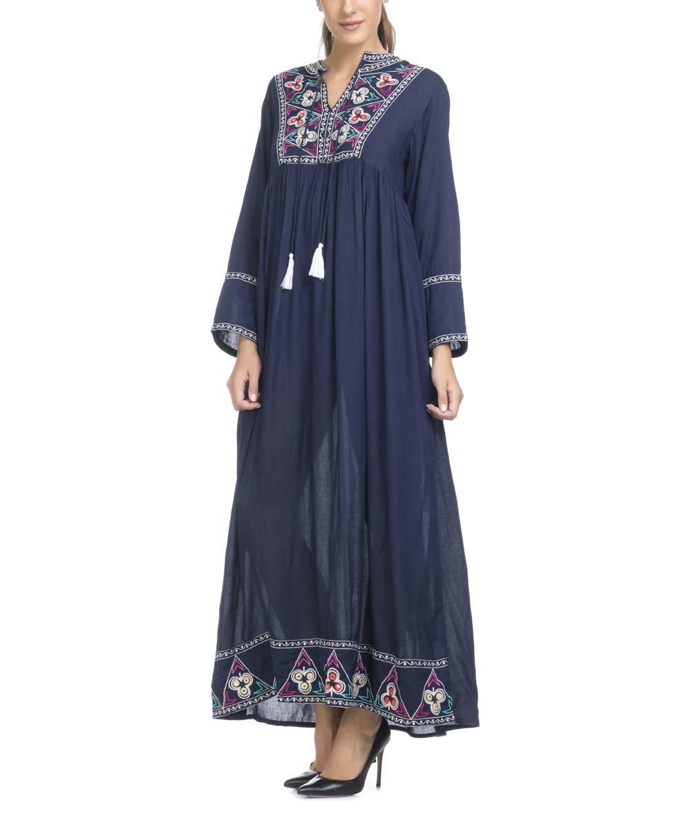 024497e245d ... Womens Blue Blue Embroidered Tassel Maxi Shift Dress - Alternate Image  2 ...