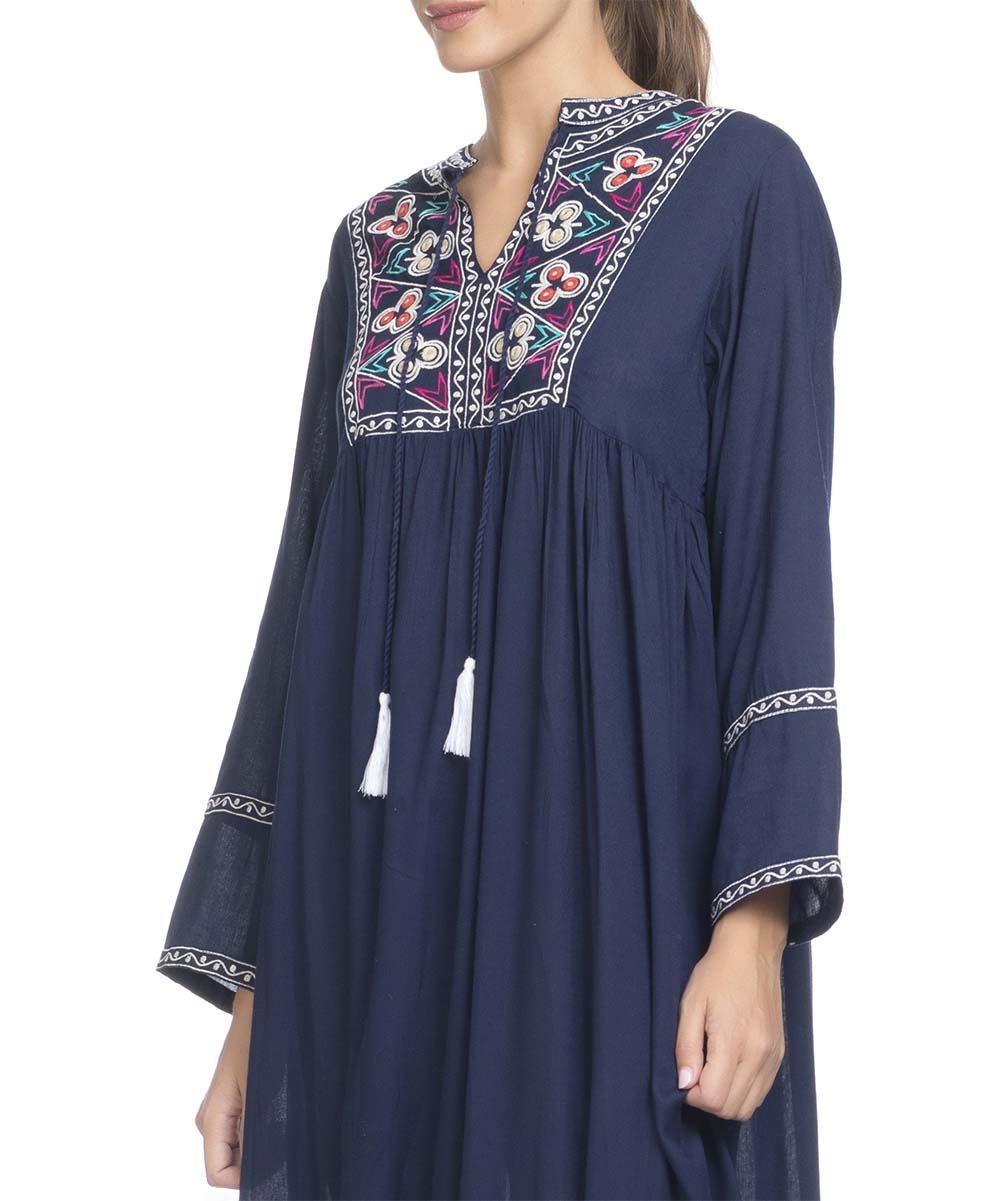 e84372d70aa ... Womens Blue Blue Embroidered Tassel Maxi Shift Dress - Alternate Image  3 ...