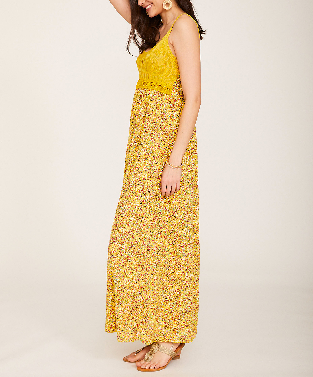 0f917ae1b22 ... Womens Mustard Floral Lace Scoop Neck Maxi Dress - Alternate Image 3 ...