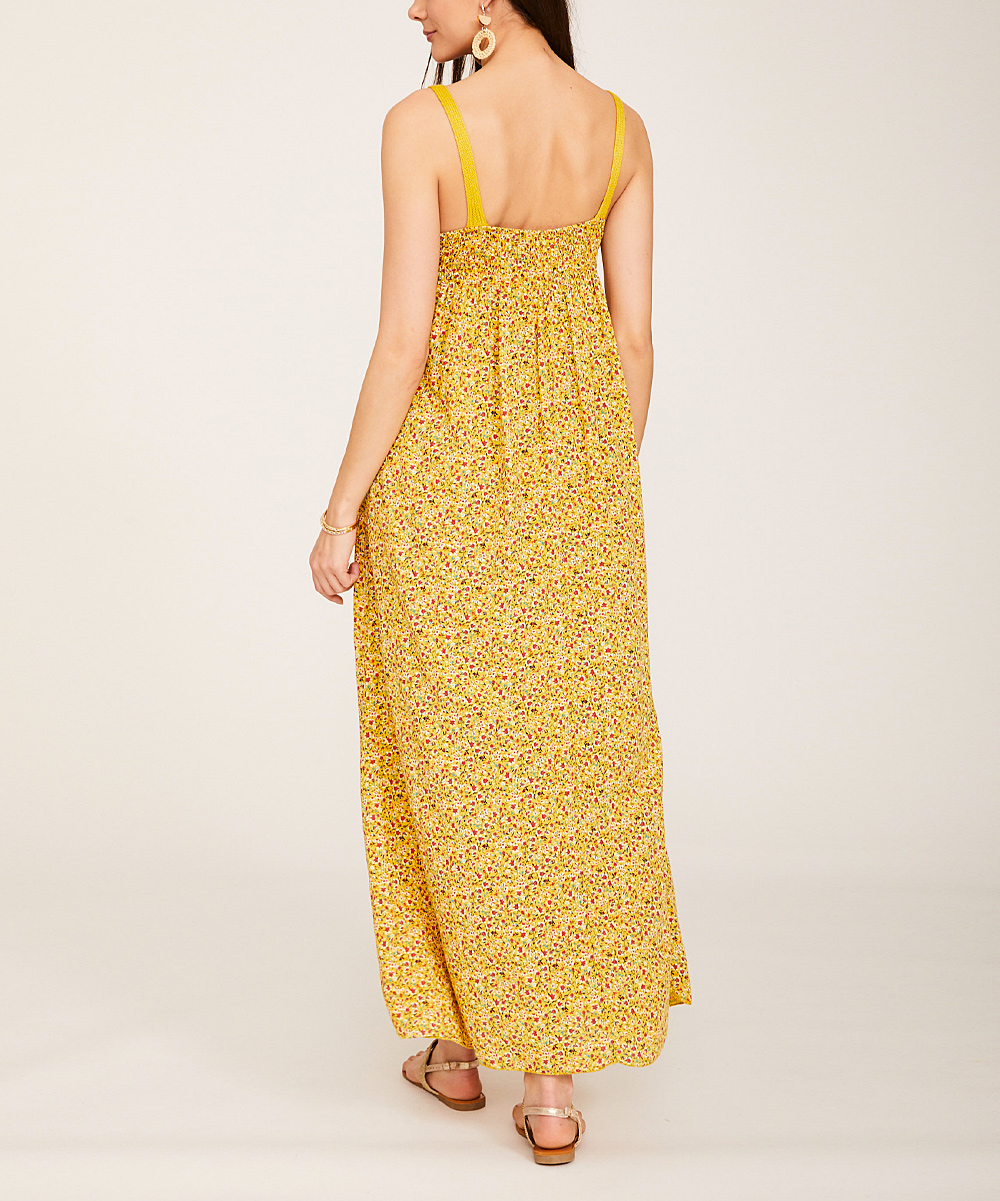 ae8e2b4868d ... Womens Mustard Floral Lace Scoop Neck Maxi Dress - Alternate Image 4 ...