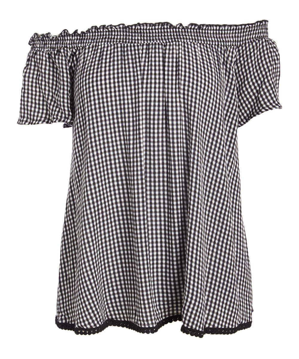 8888b626df7 Tru Self Black & White Gingham Ruffle Off-Shoulder Top - Women