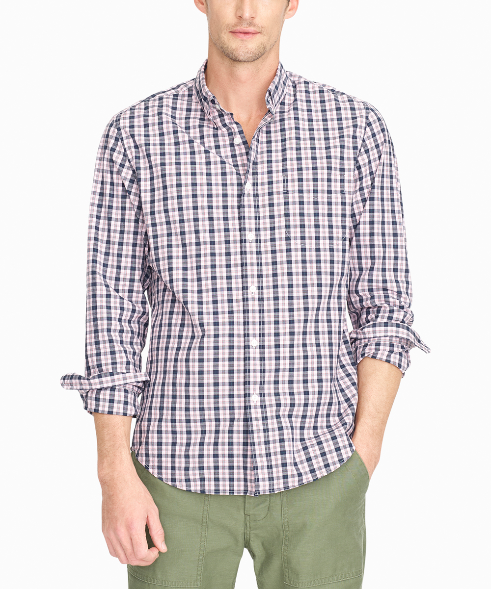 Sizing Chart With Common Left Chest Heart And Pocket: J.Crew Pink Ashford Tartan Stretch Secret Wash Button-Up