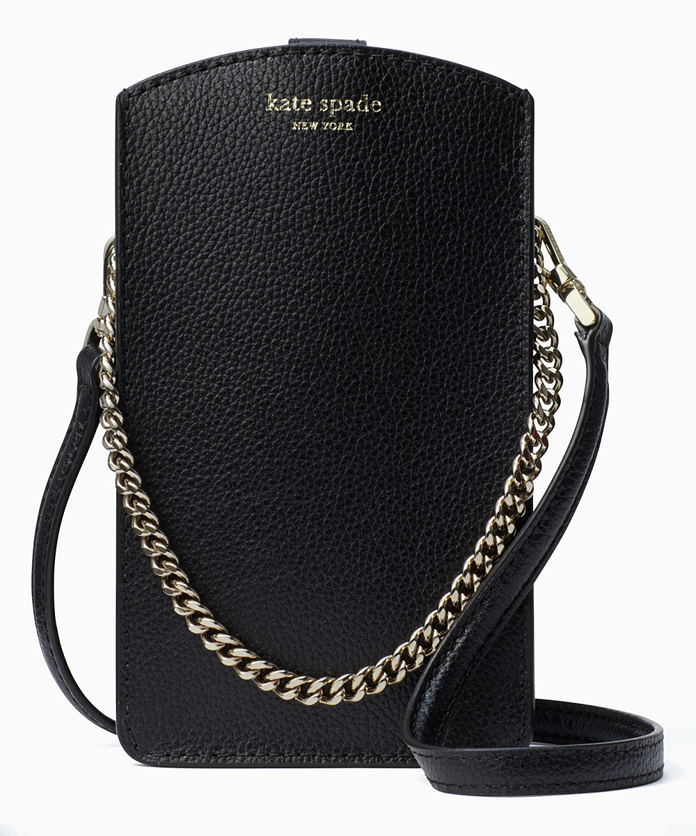 697906b407f Kate Spade Black & Warm Beige Eva Leather Crossbody Cell Phone Case