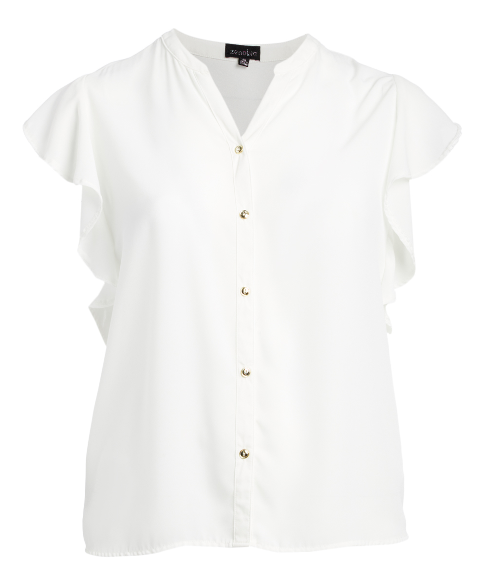 84870d680d Zenobia White Ruffle-Sleeve Button-Up Top - Plus | Zulily