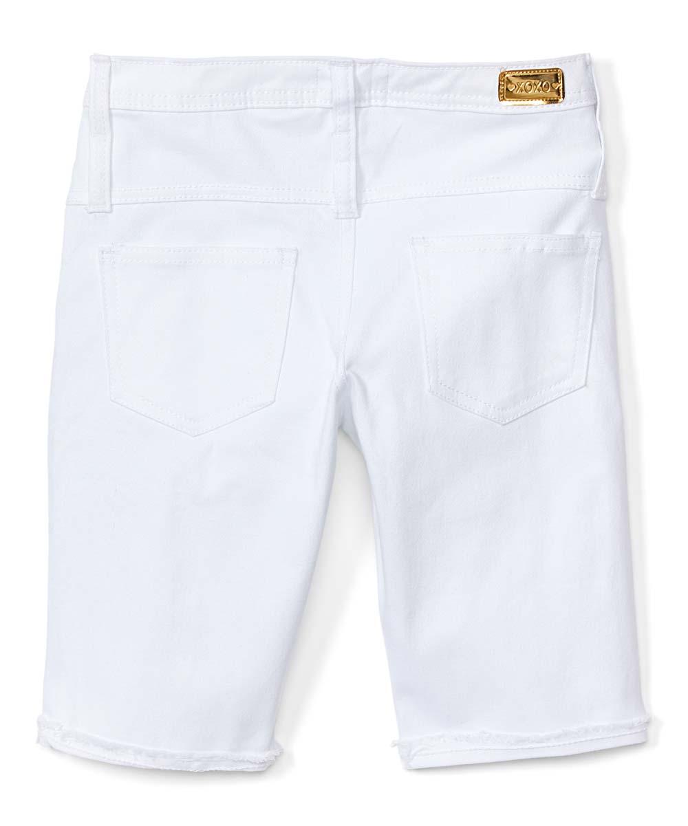 6cdbf9c757 XOXO White Buttoned Bermuda Shorts - Girls