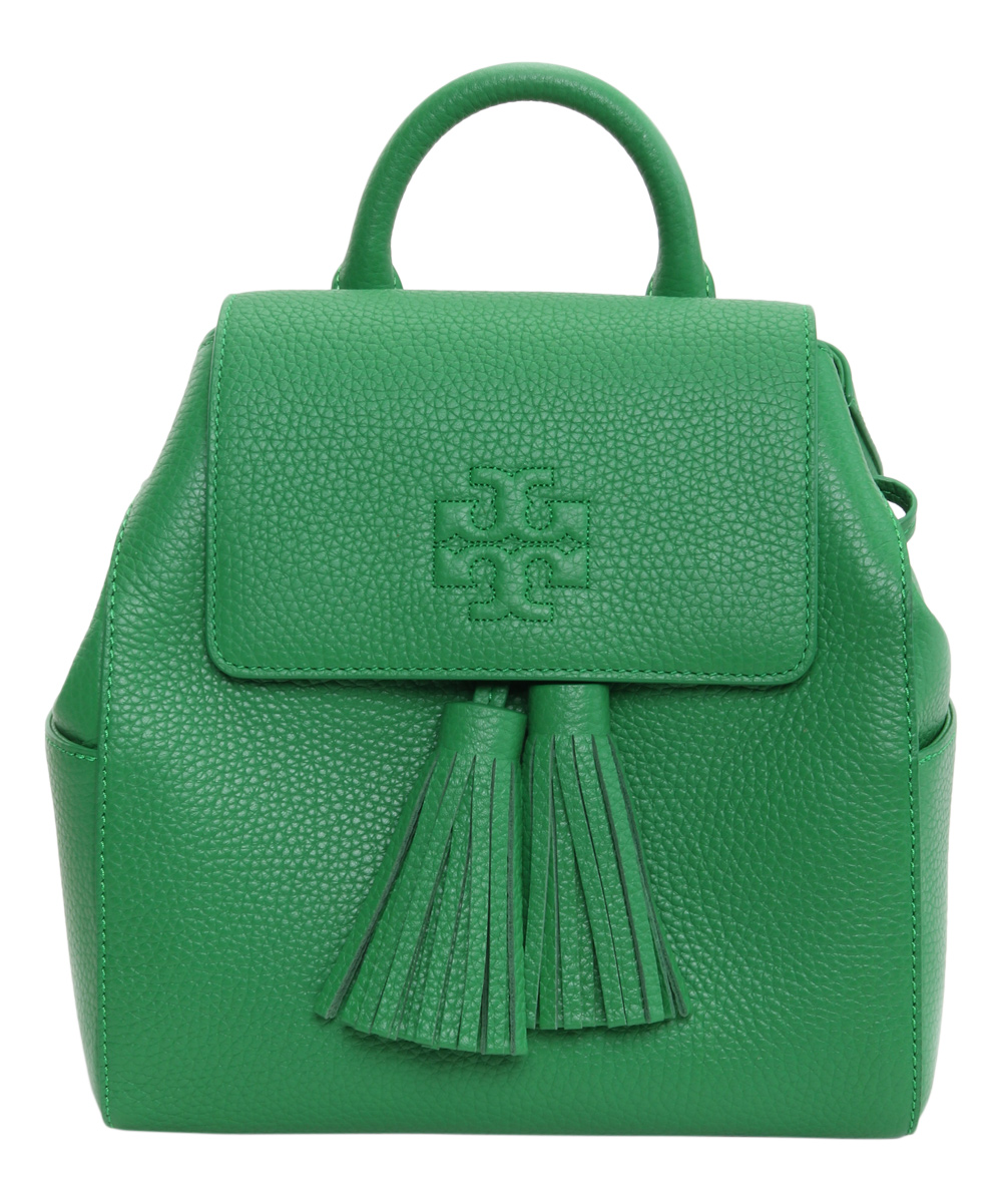 2a51895cf4f Tory Burch Court Green Tassle-Accent Thea Leather Mini Backpack