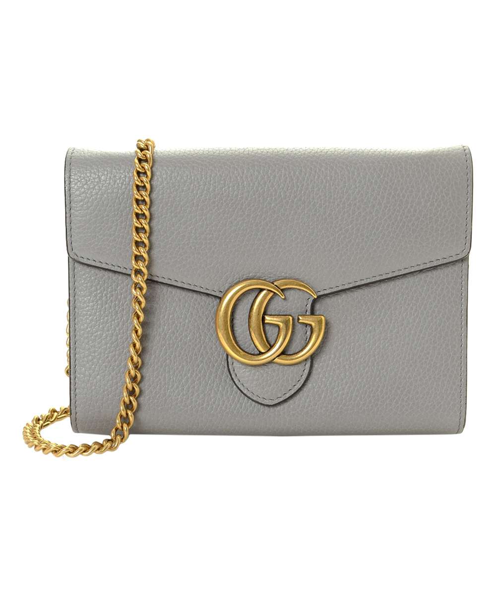 969fdfb019 Gucci Pre-Owned Gray GG Marmont Leather Chain Wallet