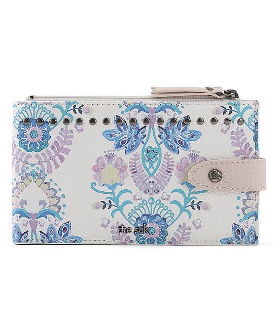 a86b80d47e75 The Sak Stone & Blue Floral Silverlake Slim Faux-Leather Wallet