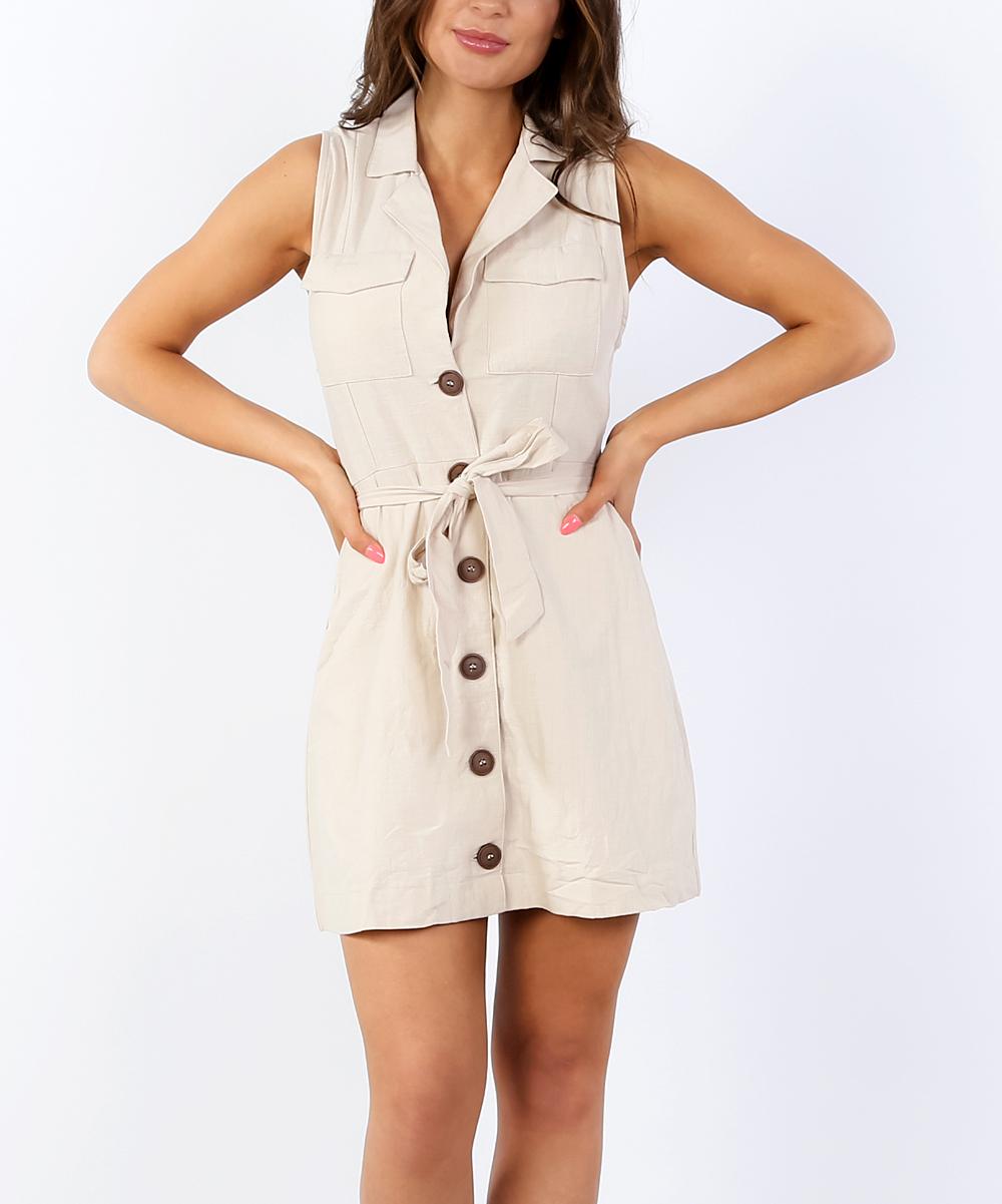 bd7f8391c69e Coco & Main Beige Button-Front Sleeveless Dress - Women | Zulily
