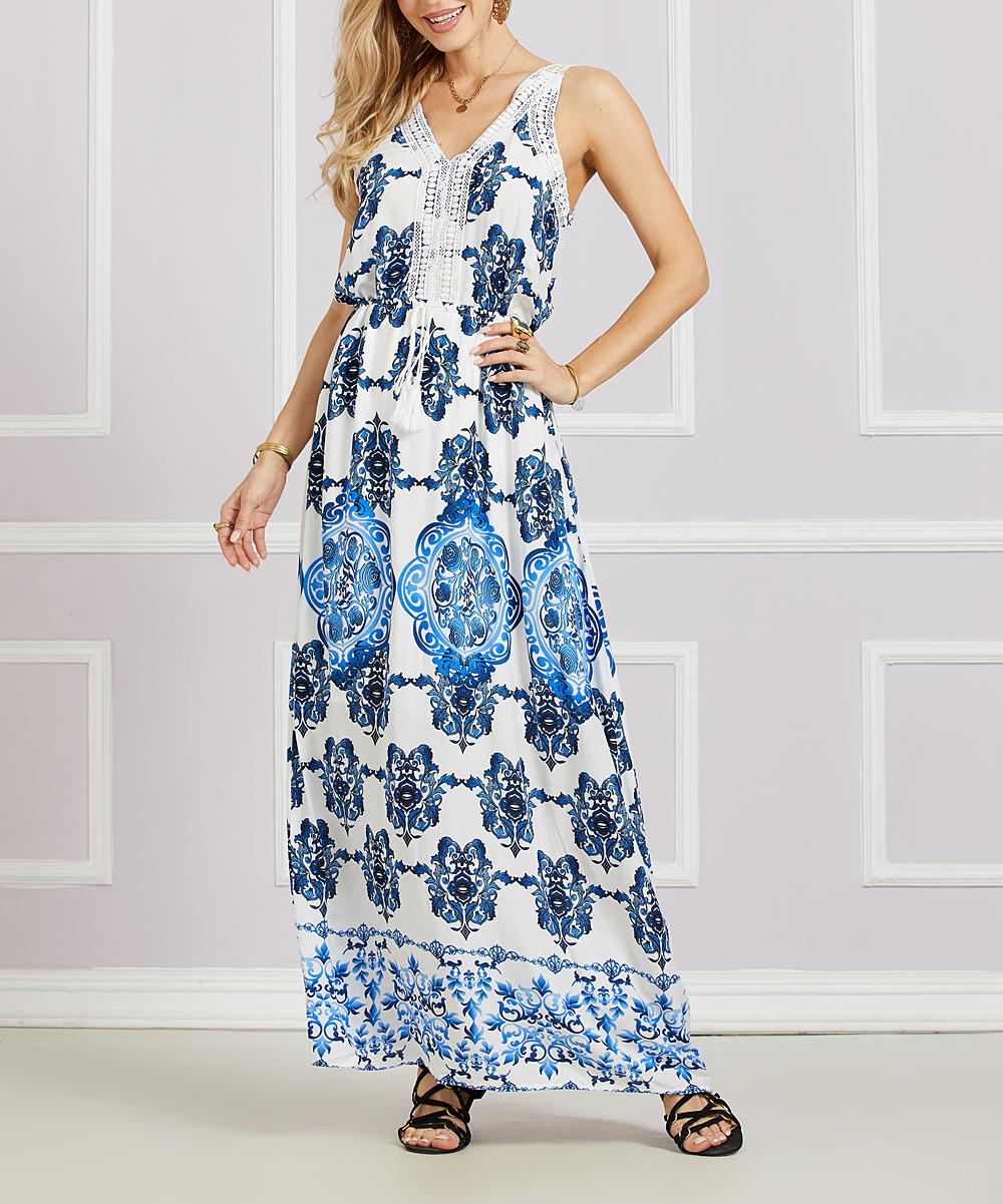e509d21caf Off-White   Blue Geometric Crochet Trim Maxi Dress - Women   Plus - Suzanne  Betro dresses