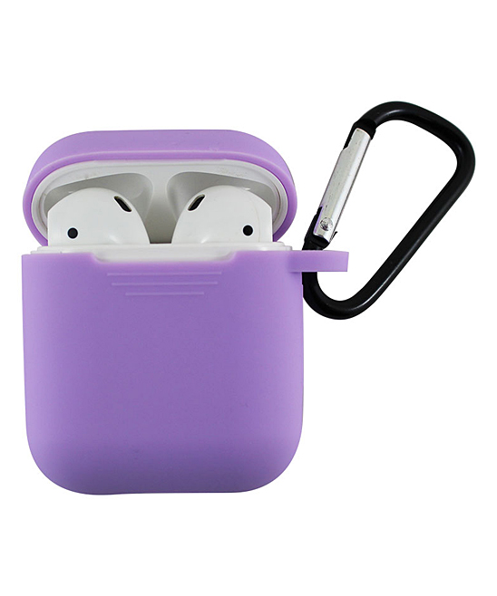 Tech Zebra  Headphone Accessories Light - Light Purple Apple AirPods Charging Case Sleeve with Carabiner