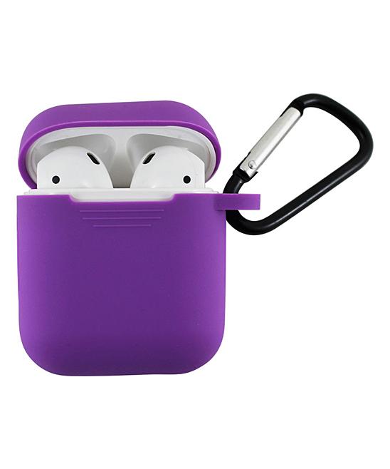 Tech Zebra  Headphone Accessories Dark - Dark Purple Apple AirPods Charging Case Sleeve with Carabiner