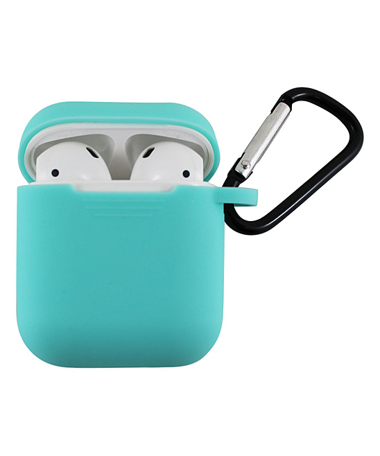 Tech Zebra  Headphone Accessories Teal - Teal Apple Apple AirPods Charging Case Sleeve with Carabiner
