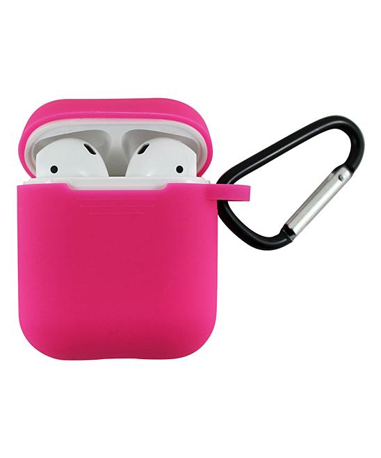 Tech Zebra  Headphone Accessories Dark - Dark Pink Apple AirPods Charging Case Sleeve with Carabiner