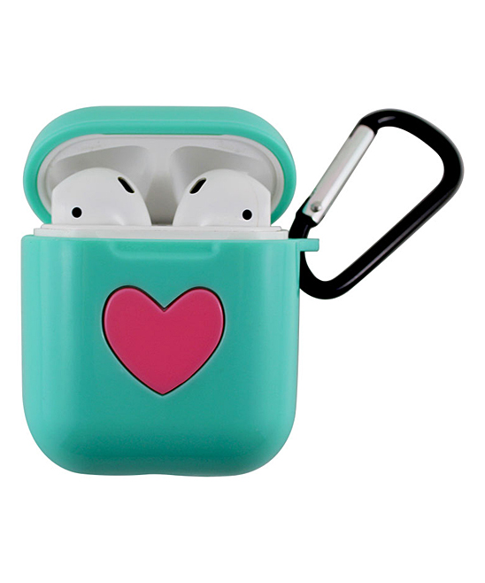 Teal Heart Apple AirPods Charging Case Sleeve with Carabiner Teal Heart Apple AirPods Charging Case Sleeve with Carabiner. Protect your precious AirPods with this soft silicone sleeve that fits conveniently over your Apple charging case and is designed to keep your headphones safe from scratches, dust and shock with 360-degree protection. Includes one sleeve, one carabiner and one manualApple AirPods and Charging Case not included3cm W x 6cm H x 5cm DABS plasticImported