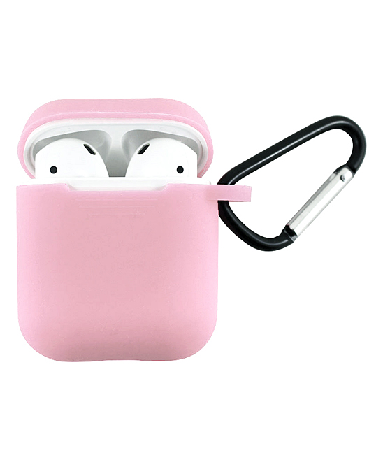 Tech Zebra  Headphone Accessories Light - Light Pink Apple AirPods Charging Case Sleeve with Carabiner