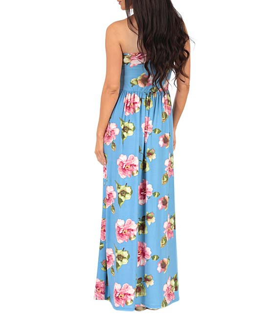 d392e840ee ... Womens Denim Multi Denim   Pink Floral Ruched-Front Strapless Maxi  Dress - Alternate Image
