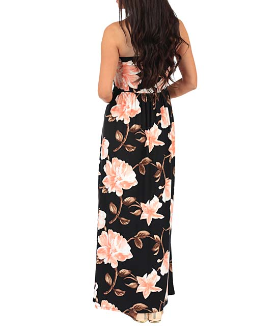 ce0a8ae69b25e ... Womens Soft Black Black & Soft Pink Floral Ruched-Front Strapless Maxi  Dress - Alternate ...