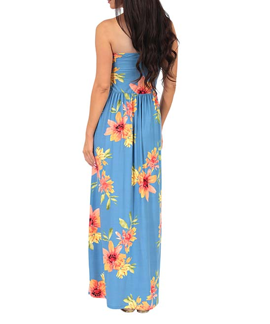 78ff798a32 ... Womens Denim Denim Floral Ruched-Front Strapless Maxi Dress - Alternate  Image 2 ...