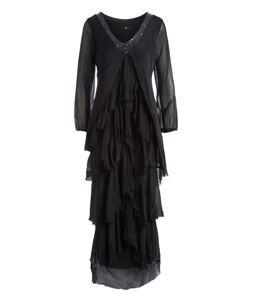 NT by Amati Black Jasmin Lace Layered Tiered Long-Sleeve Maxi Dress ... 33c7a6d831